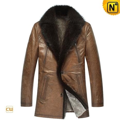 CWMALLS® Mens Mink Fur Leather Jacket CW878505 | Fur Lined Mens Coat | Scoop.it