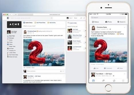 Facebook lance sa solution de réseau social interne, avec 5 ans de retard - Entreprise20.fr | Réseaux sociaux, réseaux sociaux d'entreprise, réseaux collaboratifs... | Scoop.it