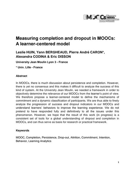 Measuring completion and dropout in MOOCs: A learner-centered model   Easy MOOC   Scoop.it