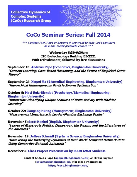 Fall 2014 CoCo Seminar Schedule Now Available | Center for Collective Dynamics of Complex Systems (CoCo) | Scoop.it