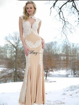 Cheap Low Back Chiffon Applique Sleeveless Fit and Flare Champagne Prom Dress Sale at Amydress.co.uk | amydress | Scoop.it
