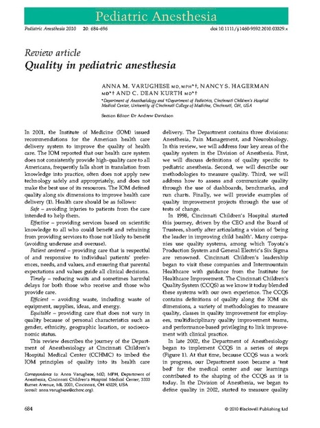 Quality in pediatric anesthesia - VARUGHESE - 2010 - Pediatric Anesthesia - Wiley Online Library | Medical education teaching and learning | Scoop.it