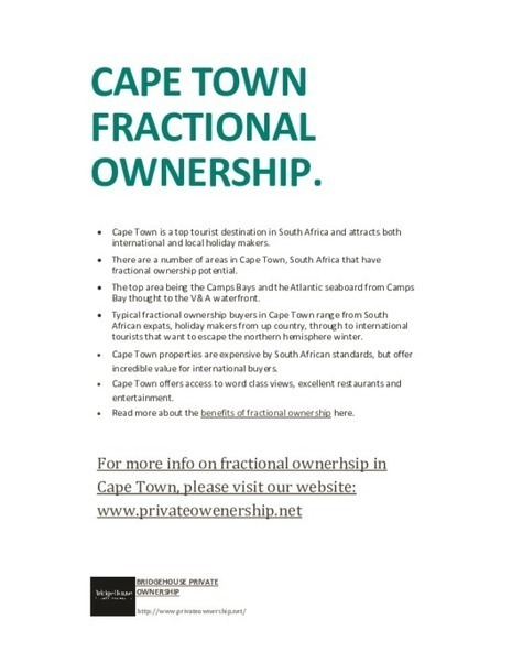 Fractional ownership in Cape Town - PDF | Fractional Ownership | Scoop.it