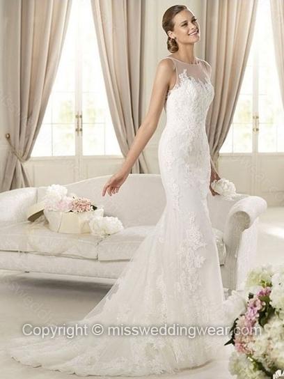 Trumpet/Mermaid Scoop Lace Sweep Train Appliques Wedding Dresses   2014 wedding dress online   Scoop.it