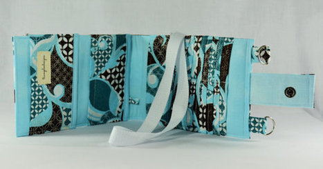 Women's Wallet  Organizer with Card Slots - 2 in 1 - Blue and Brown with Glitter Accents | Tramp Lee Designs Bags | Scoop.it