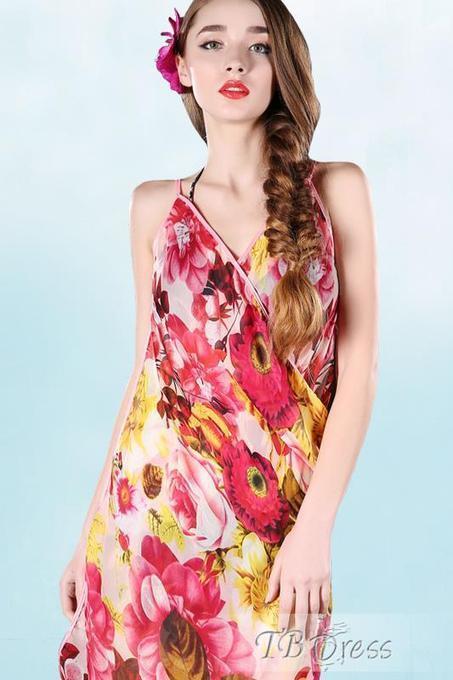Elegant Flowers Print Straped V-neck Chiffon Beach Dress   FASHION-BEAUTY-CLOTHES-GIRL   Scoop.it