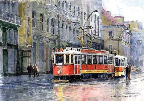 Gallery of artist Yuriy Shevchuk: Prague Historical Tram | Wonderful Artwork And Images | Scoop.it