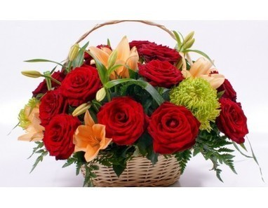 Rose And Lilies Basket | 12 Red Roses N 2kg Fruit Basket | Scoop.it