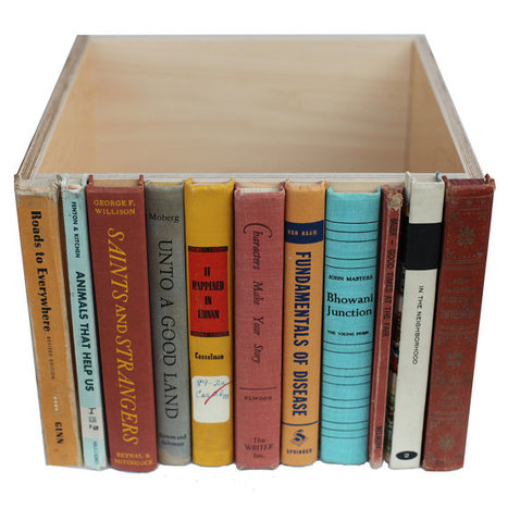 Stylish Storage Secret Item: Old Book Spines Glued to a Box | #Design | Scoop.it
