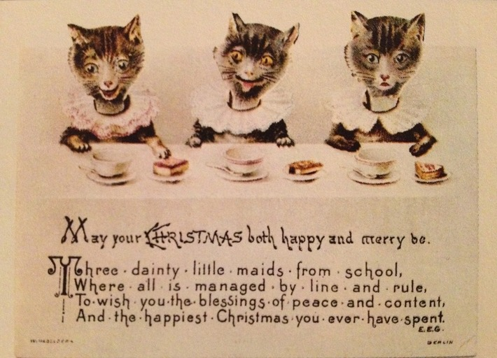 Christmas cats card, late 19th century | Antiques & Vintage Collectibles | Scoop.it