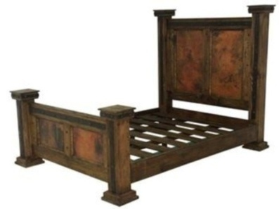 Finca Rustic Bed With Copper Panels - King | Mexican Decor And Furniture | Scoop.it