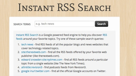 Instant RSS Search Quickly Finds Feeds On Your Favorite Topics | Social News | Scoop.it