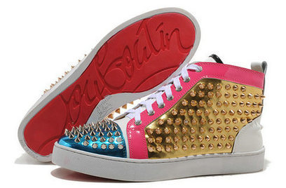 Patent Leather Christian Louboutin Blue Pink Gold Spiked High Top Sneakers [10032] - $139.00 : Cool Louboutins, Christian Louboutin Shoes Cool ,Cool Spiked Pump | Fashion shoes | Scoop.it