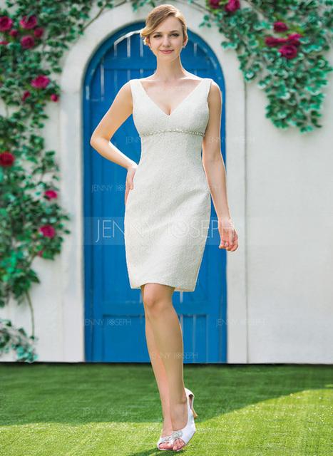 [€ 148.76] Tubino Scollatura a V Al ginocchio Pizzo Abito per matrimonio con Perline (002051151)   wedding dress   Scoop.it