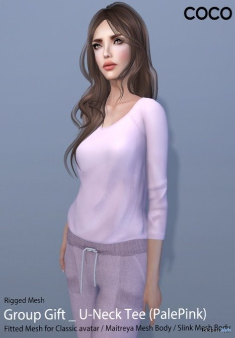 U-Neck Tee Pale Pink Group Gift by COCO Designs | Teleport Hub - Second Life Freebies | Second Life Freebies | Scoop.it