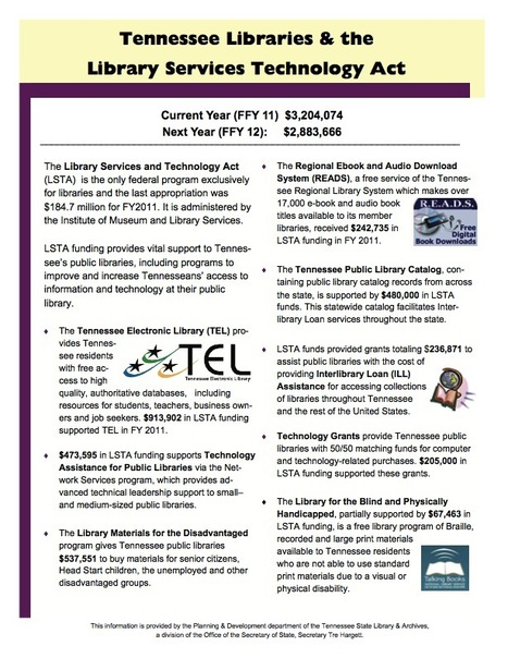 Support the Library Services and Technology Act (LSTA) and Tennessee Libraries   Tennessee Libraries   Scoop.it