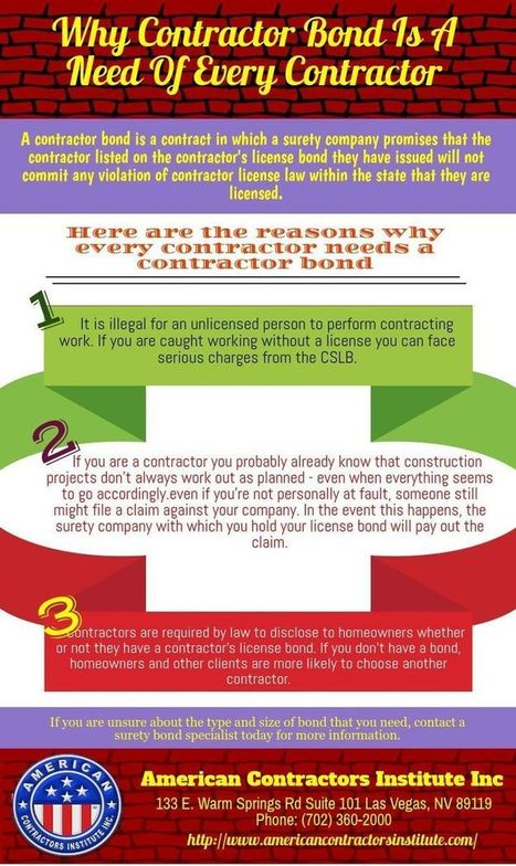 Why Contractor Bond Is A Need Of Every Contractor | American Contractors Institute | Scoop.it