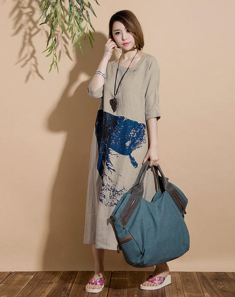 Beige linen short-sleeved long section hedging printing Dress | Ladies Fashion | Scoop.it