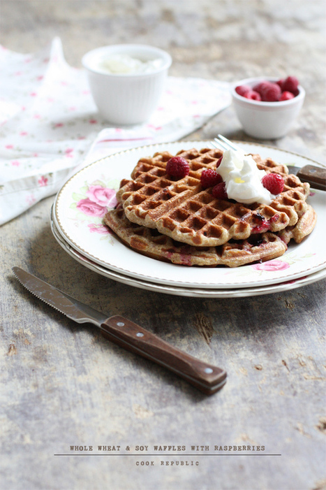Whole Wheat And Soy Waffles With Raspberries | Cook Republic | Veggie & vegan desserts | Scoop.it