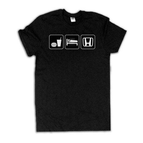 HONDA eat sleep honda Unisex Black T-Shirt Car Emblem Cool Shirt | Binary Options | Scoop.it