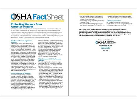 OSHA FACT SHEET: Protecting Workers from Asbestos Hazards | Asbestos and Mesothelioma World News | Scoop.it