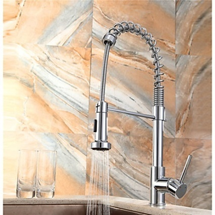 Pullout Spray Chrome Single Handle Contemporary Deck Mounted Chrome Kitchen Faucet-- Faucetsmall.com | Bathroom Sink Faucets & Kitchen Faucets | Scoop.it