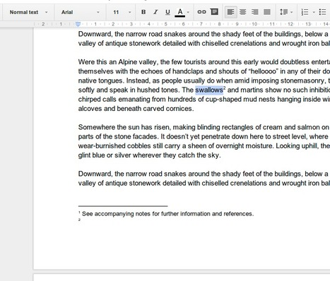 Adding Footnotes to a Google Document   Time to Learn   Scoop.it