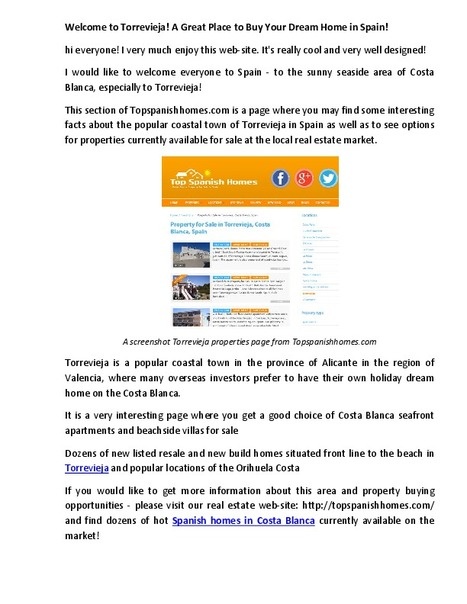 Torrevieja is a popular town in Spain to have own property | Spanish Property Market | Scoop.it