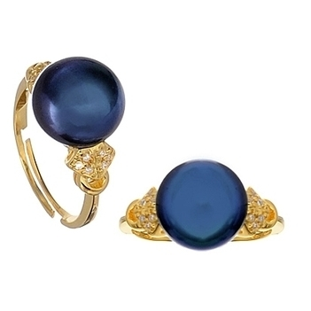 Black pearl yellow gold vermeil adjustable ring | Pearls & Fashion | Scoop.it