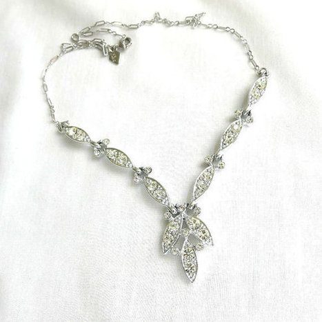 Vintage Clear ICE Rhinestone Choker Necklace signed Sarah Coventry   Favorite Vintage Jewelry   Scoop.it