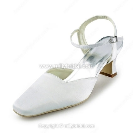 Elegant Satin Chunky Heel Pumps with Buckle Wedding Shoes - www.millybridal.com | wedding and event | Scoop.it