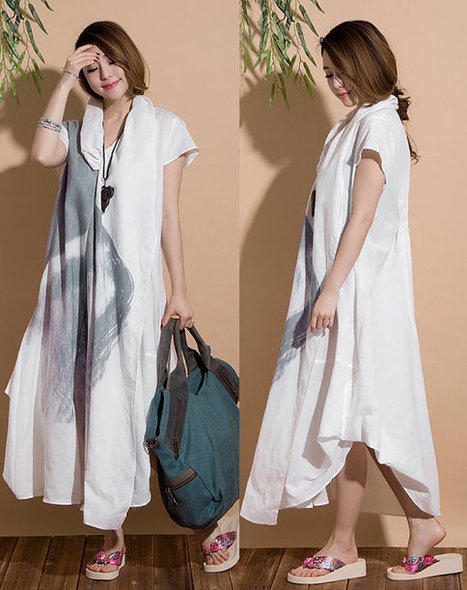 Irregular loose linen roll dyeing ethnic style dress / Summer piles collar short-sleeved dress | Ladies Fashion | Scoop.it