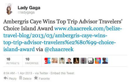 Lady Gaga Tweets About Belize | Belize International Film Festival | Scoop.it