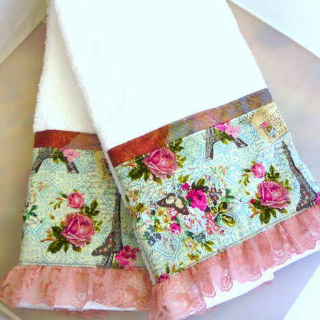 Pink Rose and Aqua Custom Decorated Hand Towels - Cotton Fabric - White Hand Towels | Life@ Gingham Country | Scoop.it