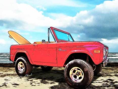 Surf Bronco Beyond the 4 Wheel Drive Only Sign Padre Island | VivaChas!  Hot Rod Art | Scoop.it