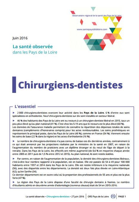ORS > Neuf chirurgiens-dentistes sur dix sont installés en secteur libéral   Observer les Pays de la Loire   Scoop.it