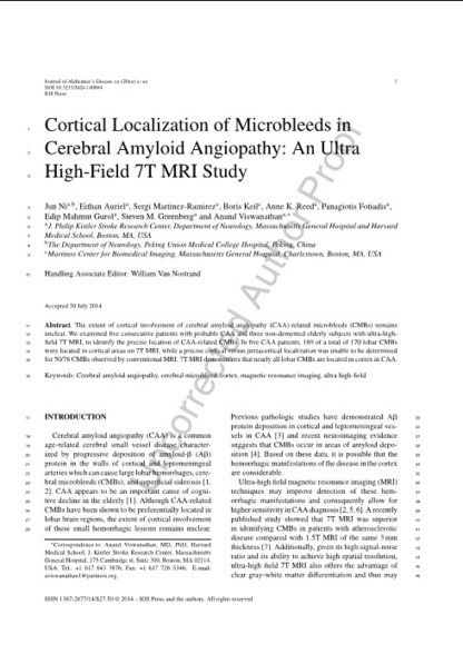 Cortical Localization of Microbleeds in Cerebral Amyloid Angiopathy: An Ultra High-Field 7T MRI Study   Neuroscience: Alzheimer's disease   Scoop.it