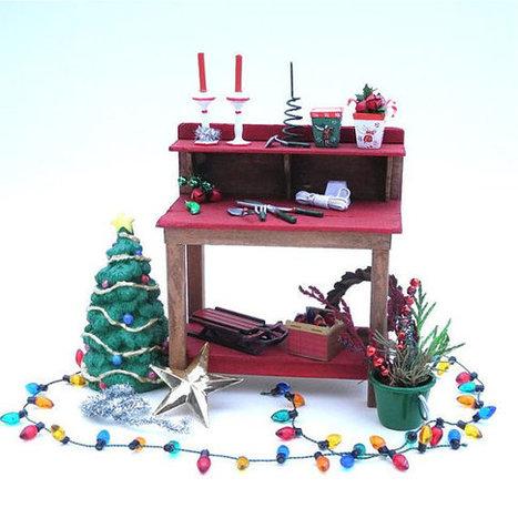 Miniature Garden Christmas Potting Bench for Fairies, Gnomes, Terrariums, OOAK | Grown Green Gardens | Scoop.it