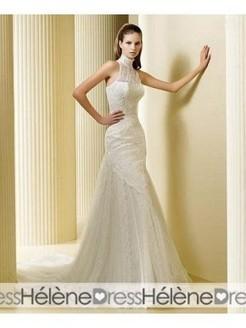 Sensational Trumpet/Mermaid Embroidery High Neck Chapel Train Wedding Dresses - Lace Wedding Dresses - Wedding Dresses | lovely girl | Scoop.it