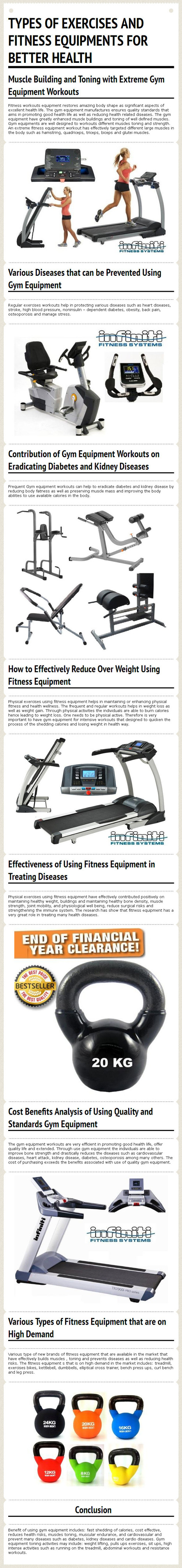 Types of Exercises and Fitness Equipments for Better Health from www.worldfitness.com.au   worldfitness   Scoop.it