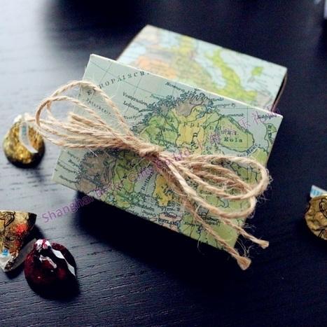 72pcs Around the World Map Favor Box TH031-A0 Unique Wedding Gift Ideas, Party Decoratio | 純歐式婚禮喜糖盒 倍樂婚品 | Scoop.it