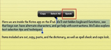 Talking Text - How to Make Your iPad Speak Selected Words & Phrases | iPad Academy | iPads and Other Tablets in Education | Scoop.it