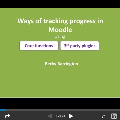 Ways of tracking progress in Moodle by Rebecca Barrington #MootIEUK16 @BBarrington - Moodle World | Marks Moodle | Scoop.it
