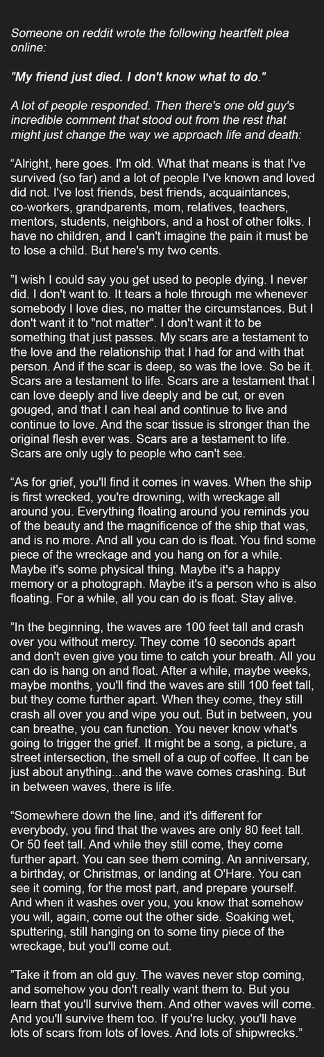 Person Asks Online For Advice On How To Deal With Grief. This Reply Is Incredible.   Cuppa   Scoop.it