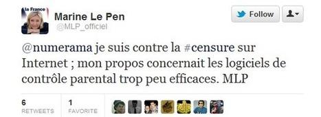 Marine Le Pen précise sa position sur la censure sur Internet | net neutralité | Scoop.it