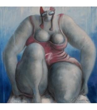 Swimmer n°7 - Rouge - Corinne Brenner - Galerie d'art contemporain le hangART | Tableaux de C. Brenner | Scoop.it