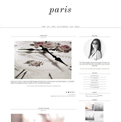Responsive Blogger Template - Paris - -Premade Blogger Template - Blogger Theme - Blogspot Template - Instant Download | Blogger themes | Scoop.it