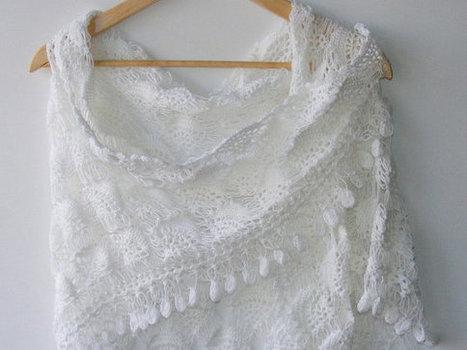 white wedding shawl, women hand crocheted shawl ,fall fashion ,woman ,stole ,wrap, white scarf | HANDMADE | Scoop.it