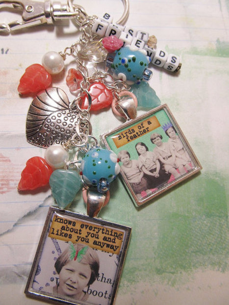 Best Friends  Purse clip, Key chain,  Altered Art Keychain Charm   Hip Clip  ooak  ebsq | Digital Stamping and Papercrafts | Scoop.it