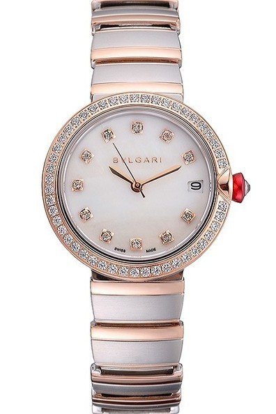 Replica Bvlgari Lvcea White Dial Diamond Hour Markings Rose Gold Case With Diamonds Two Tone Bracelet-$285.00 | Men's & Women's Replica Watches Collection Online | Scoop.it